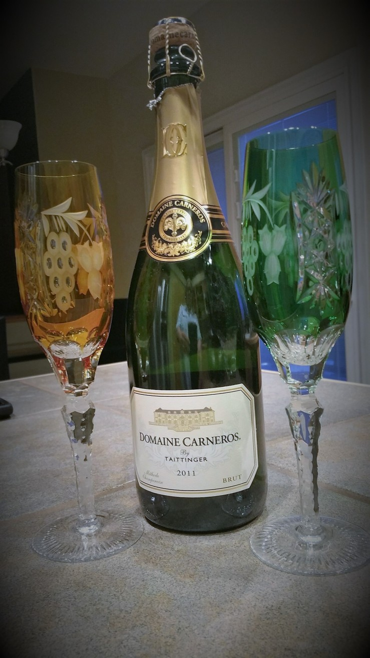 A vignette of sparkling wine. Domaine Carneros is the domestic Taittinger from the Carneros Valley of California.