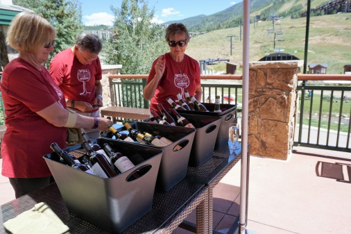 Volunteers guarding the wines.