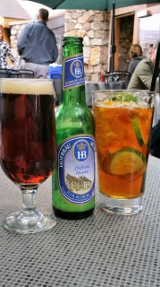 My husband's beer and my maternal side going with an English Pimm's Cup